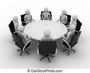 gens, derrière, -, table., rond, isolé, 3d, séance, image.