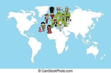 gens, dessins animés, europe, mondiale, illustration., carte, diversité