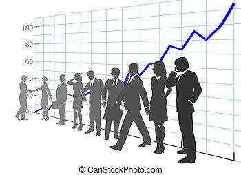 gens, diagramme croissance, business, profit, équipe