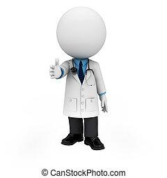 gens, docteur, 3d, blanc