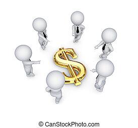 gens, dollar, autour de, signe., 3d, petit