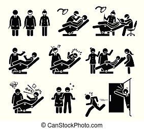 gens drôles, dentaire, dentiste, clinique, reactions.