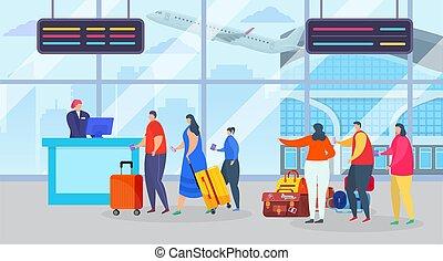 gens, enregistrement, passager, caractère, aéroport, vol, valises, vecteur, journey., ligne, long, illustration., file