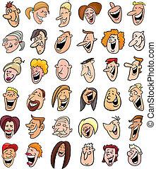 gens, ensemble, énorme, faces, rire