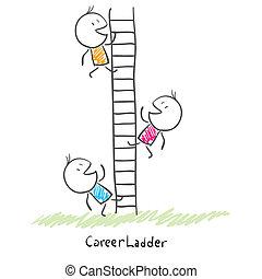 gens, escalade, conceptuel, carrière, ladder., business, constitué, haut, illustration