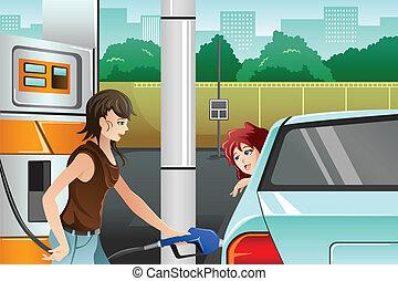 gens, essence, remplissage, station essence, haut