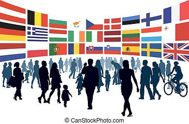 gens, européen, marche