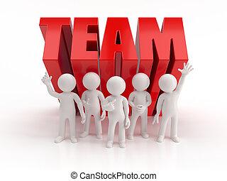 gens, fiable, -, équipe, petit, 3d