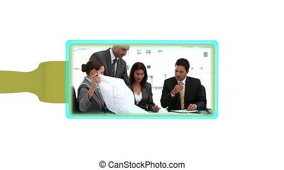gens, fonctionnement, business, montage