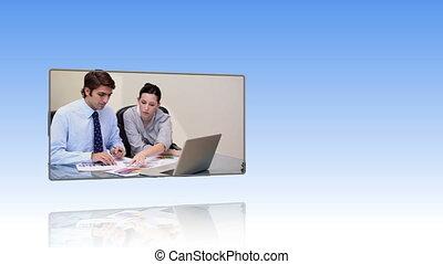 gens, fonctionnement, ordinateur portable, business