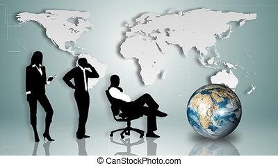 gens, fond, affaires mondiales, carte, silhouettes