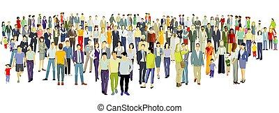 gens, fond, groupe, grand, blanc