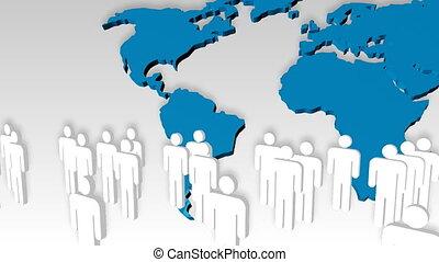 gens, fond, mondiale, animation, icône