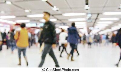 gens, foule, métro, flânerie, occupé, autour de, station