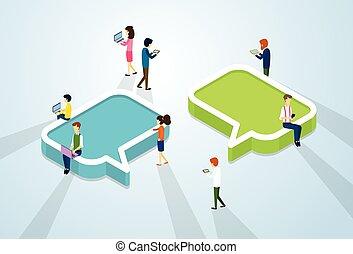 gens, foule, réseau, communication, social, média
