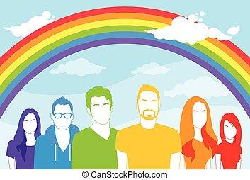 gens, gay, même, femmes, lesbienne, sexe, homme, groupe