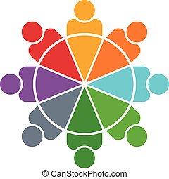 gens, graphique circulaire, personnes, 8, logo.