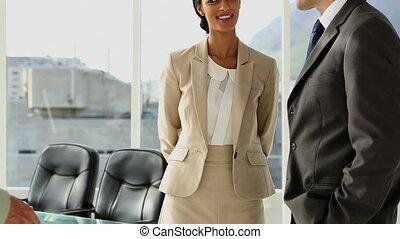 gens, greetin, réunion, business