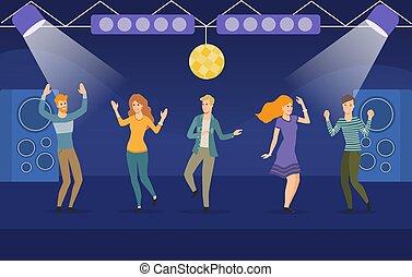 gens, groupe, boîte nuit, grand, danse, jeune