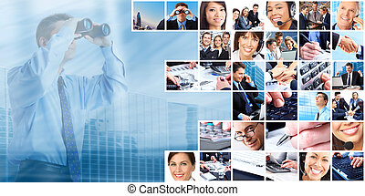 gens, groupe, collage., business