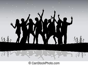 gens., groupe, danse