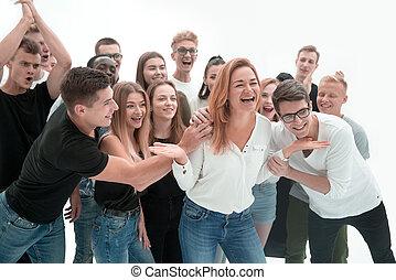 gens, groupe, heureux, jeune, éditorial, leur, soutenir
