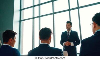 gens, groupe, séminaire commercial, réunion conférence