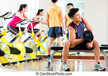 gens, gymnase, exercisme, asiatique, fitness, sport