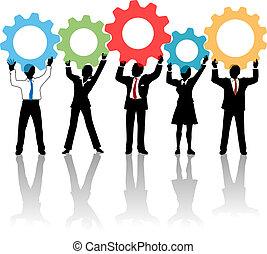 gens, haut, engrenages, équipe, solution, technologie