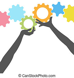 gens, haut, engrenages, mains, prise, technologie