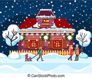 gens, hiver, chute neige, ville, maison, dépassement