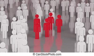 gens, humans., processus, pandémie, ultra, diffusion, hd, 4k, epidemy, croissant, coronavirus, 3d, virus, illustration., 3840x2160, animation
