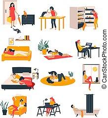gens, icônes, ensemble, chats