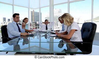 gens, idée génie, business, groupe