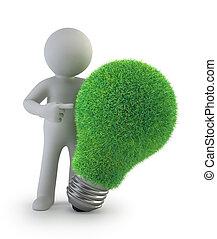 gens, -, idée, vert, petit, 3d