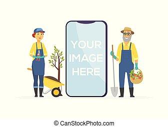 gens, -, illustration, caractères, jardiniers, outils, dessin animé