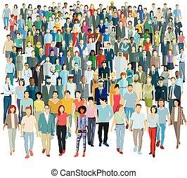 gens, illustration, -, vecteur, groupe, grand