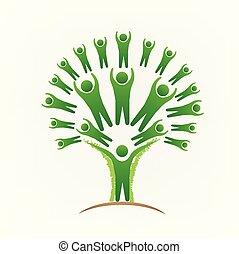 gens, image, arbre, vecteur, collaboration, logo