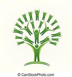 gens, image, arbre, vecteur, vert, logo, collaboration