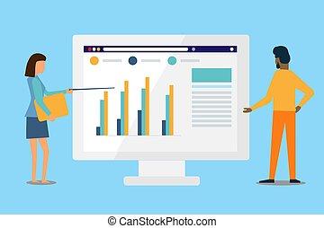 gens, impliqué, toile, investissements, monitor., affaires illustration, finances., contrôler, conception, graphique, analyse, vecteur