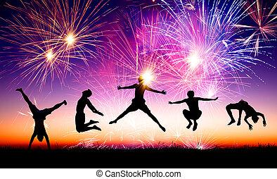 gens, jeune, sauter, feud'artifice, colline, fond, heureux