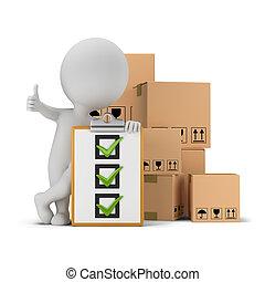 gens, liste contrôle, -, boîtes, petit, 3d