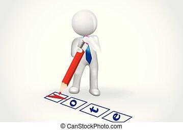 gens, liste contrôle, symbole, -, petit, vote, carte, 3d