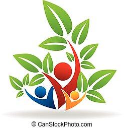 gens, logo, arbre, collaboration, swooshes