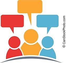 gens, logo., trois, groupe, personnes
