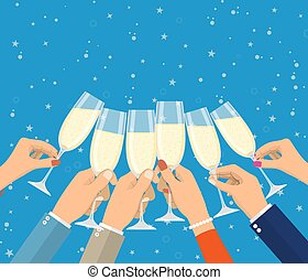 gens, lunettes champagne, tenue