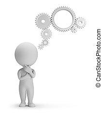 gens, -, mécanisme, pensée, petit, 3d