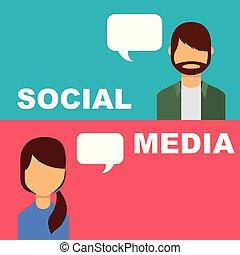 gens, média, bulle, conversation, parole, social, bannière
