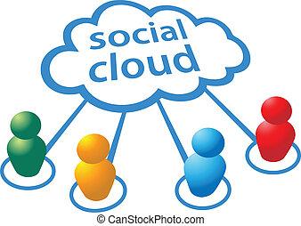 gens, média, calculer, connexions, social, nuage