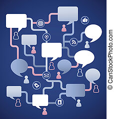 gens, média, image, parole, social, bulles